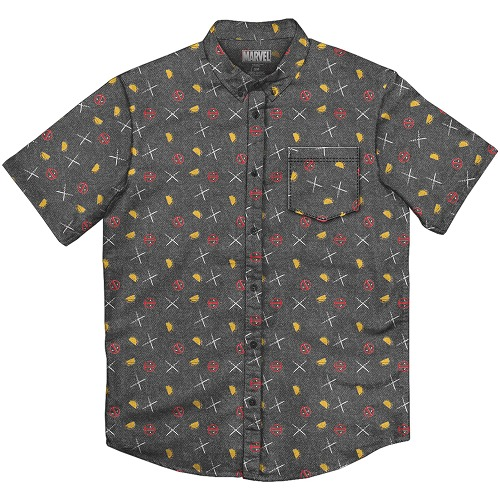 MARVEL DEADPOOL PARTY CHARCOAL BUTTON UP T/S LG / MAR182376