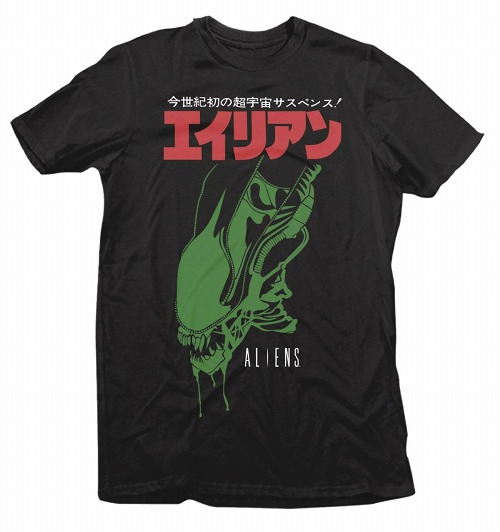 ALIENS JAPANESE TEXT BLACK T/S LG / MAR182401