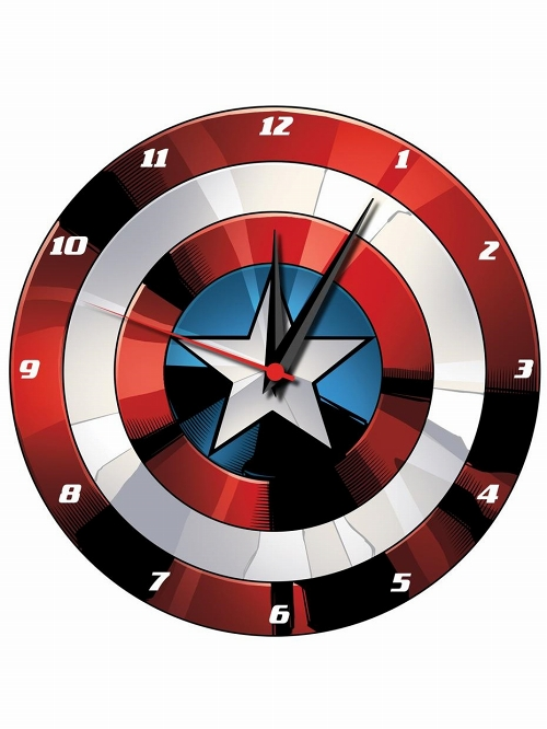 MARVEL CAPTAIN AMERICA SHIELD 13.5IN WOOD WALL CLOCK/ OCT193191